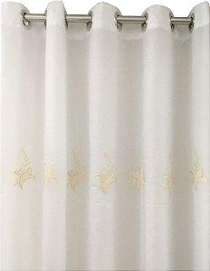 Cortina Victoria Bordada Voil Branco Com Forro 280x230 Bordado Pérola e Marrom - Izaltex