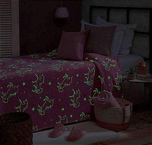 Manta Que Brilha No Escuro Mescla Rosa e Branca Solteiro Unicórnio - Jolitex