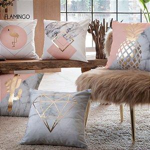 Capa de Almofada Vazia Astral 43x43 Flamingo - Jolitex