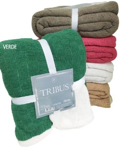 Manta Tricot Com Sherpa Tribus B Verde - Rozac