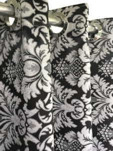 Cortina Blackout de Tecido Jacquard Elegance 560x230 Imperial Preta - Izaltex