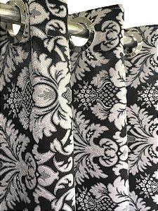 Cortina Blackout de Tecido Jacquard Elegance 260x230 Imperial Preta - Izaltex