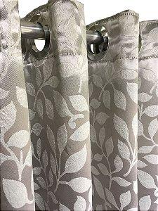 Cortina Blackout de Tecido Jacquard Elegance 260x180 Folhas Prata - Izaltex