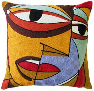 Capa de Almofada Vazia Bordada Brasileira 45x45 Face - Jolitex