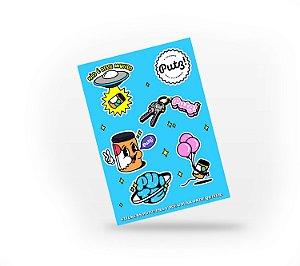 Stickers! Cartela azul com 6 adesivos