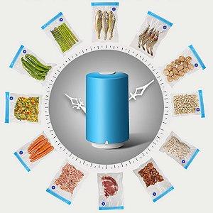 Mini Embaladora Portátil Seladora a Vácuo Alimentos Carne Legumes Frios Grãos Roupas Acessórios