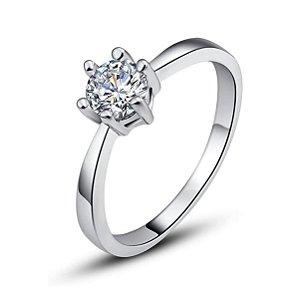 Anel Solitário Banhado A Ouro 18k Diamante CZ Aço Inoxidável 316l Casamento Namoro Noivado