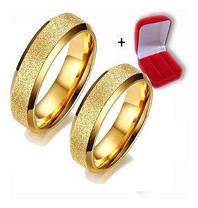 Par De Anéis Alianças Jateado Banhado Ouro 18k 6mm Casamento Noivado Namoro
