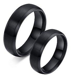 Lindo Par Aliança 6mm Anel Compromisso Titânio Preto Casamento Noivado Namoro