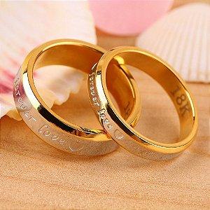 Par Alianças Compromisso Forever Love 4 mm e 6 mm Banhadas a Ouro 18k