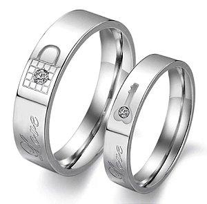 Par De Alianças Chave 4 mm e Cadeado 5 mm Titânio Casamento Namoro Noivado