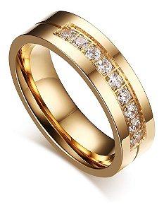 Aliança Titânio 6mm Banhado A Ouro 18k Unidade Pedra Zircôrnia Casamento Namoro Noivado