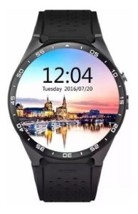 Relógio Smartwatch Bluetooth Kw88 Android 5.1 3g Chip Tela Amoled 400x400 Kingwear 4gb Gps Preto