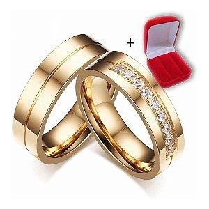 Par Alianças Banhada Ouro 18k 10g Com Zirconia Casamento Noivado