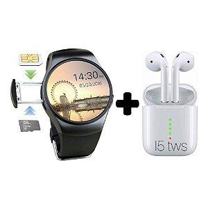 Relógio Smartwatch Kw18 Preto & Fone I5 Bluetooth Touch Branco