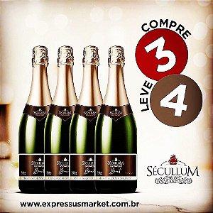 Compre 3 e Leve 4 Garrafas de Vinhos Sécullum Charmat Espumante Brut Reserva