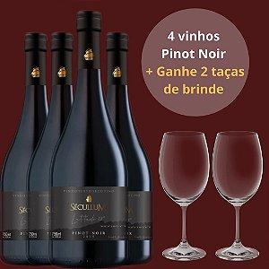 Combo 4 Garrafas de Vinho Tinto Seco Fino Pinot Noir 2019 + Ganhe 2 taças