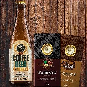 Combo promocional - 1 Cerveja Beer IPA + 1 Barra Marshmallow + 1 Barra Belga ao Leite com recheio de avelã