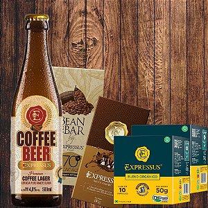 Combo = 1 Coffee Beer Large + 1 Barra Bean To Bar + 1 Barra Recheado de Marshmallow + 20 Cápsulas de café Orgânico