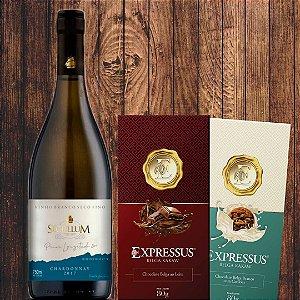 Combo = 1 Vinho fino branco Charonnay + 1 Barra Chocolate Belga ao Leite + 1 Barra Branca c/ Cookies