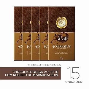Kit c/15 Barra de Chocolate  Kakaw Belga ao Leite com Recheio de Marshmallow