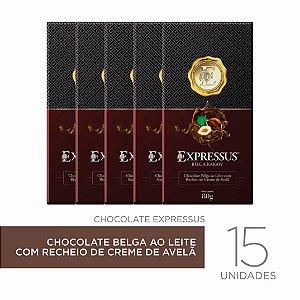 kit c/15 Barras de Chocolate Belga ao Leite com Recheio de Creme de Avelã