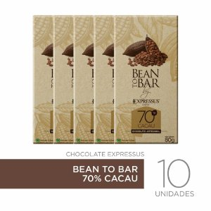 Kit c/10 Barras de Chocolate Bean To Bar 70% de Cacau