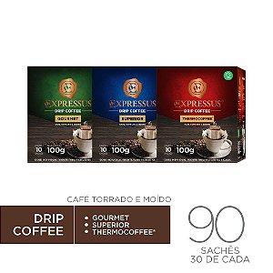 Kit c/90 Sachês de Café Drip Coffee - Gourmet/Thermocoffee/Superior