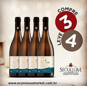 Compre 3 Leve 4 Garrafas de Vinhos Sécullum Chardonnay Reserva Seco 2017