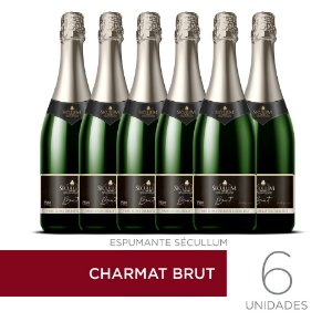 Kit c/6 Garrafas de Vinhos Sécullum Charmat Espumante Brut Reserva