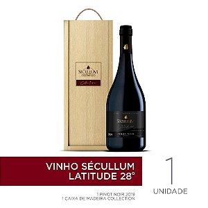 Kit Caixa de Madeira Personalizada Sécullum Collection + 1 Garrafa de Vinho Sécullum Pinot Noir - Latitude 28°