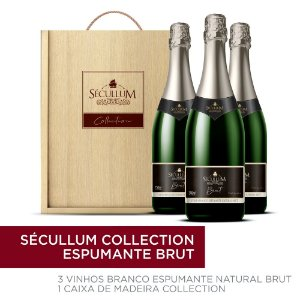 Kit Caixa de Madeira Personalizada Sécullum Collection + 3 Garrafas de Vinhos Sécullum Charmat Espumante Brut Reserva