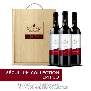 Kit Caixa de Madeira Personalizada Sécullum Collection + 3 Garrafas de Vinhos Sécullum Marselan Reserva Éphico