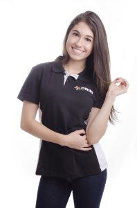 Camiseta Polo Feminina com Recorte