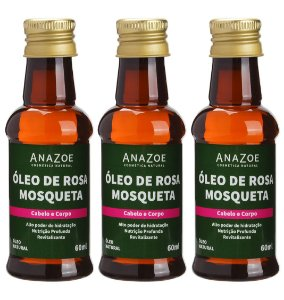 Kit Óleo de Rosa Mosqueta Cabelo e Corpo 60ml Anazoe 3 Unidades