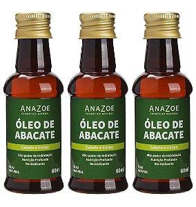 Kit Óleo de Abacate Cabelo e Corpo 60ml Anazoe 3 unidades