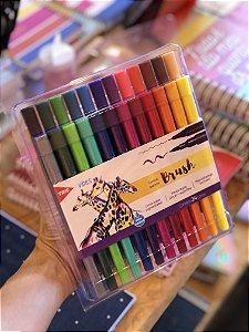 Caneta Sketch Brush Vibes Ponta dupla Tris 24 cores