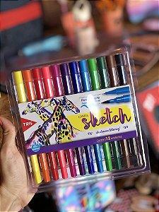 Caneta Sketch Ponta Dupla Tris 12 cores