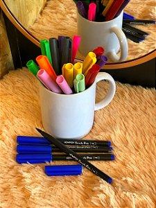 Caneta hidrográfica Brush Pen aquarelável New Pen azul safira