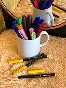 Caneta hidrográfica Brush Pen aquarelável New Pen amarelo girassol