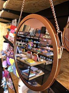 Espelho decorativo Rose Gold com Corrente Metalizada