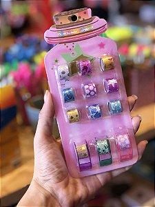 Fita washi Tape Decorativa com Gliter com dispenser 12 unidades