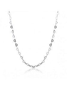 Colar Feminino de Prata Corações Vazados 45 cm Vizaro