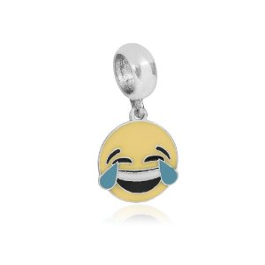 Berloque de Prata Emoticon Chorando de Rir Vizaro