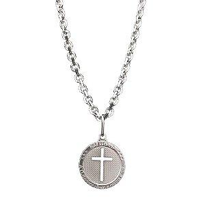 Corrente de Prata Masculina Cadeado 70 cm e Pingente Salmo 25 Vizaro