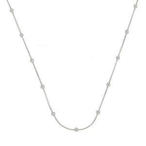 Colar Feminino de Prata Laminada com Bolinha 45 cm Vizaro