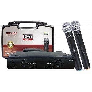 Microfone MXT UHF 302 com Dois microfones