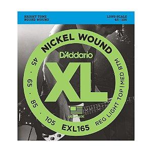 Encordoamento para baixo elétrico D'Addario 4 cordas EXL165