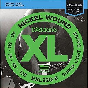 Encordoamento para Baixo D'Addario EXL 220-5 5 cordas