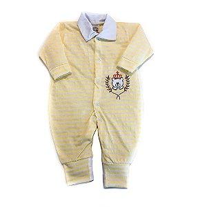 Macacão Bebê Listrado Amarelo